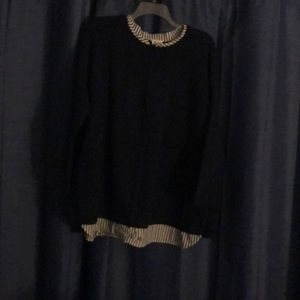 Navy Sweater Attached Blouse Open Back